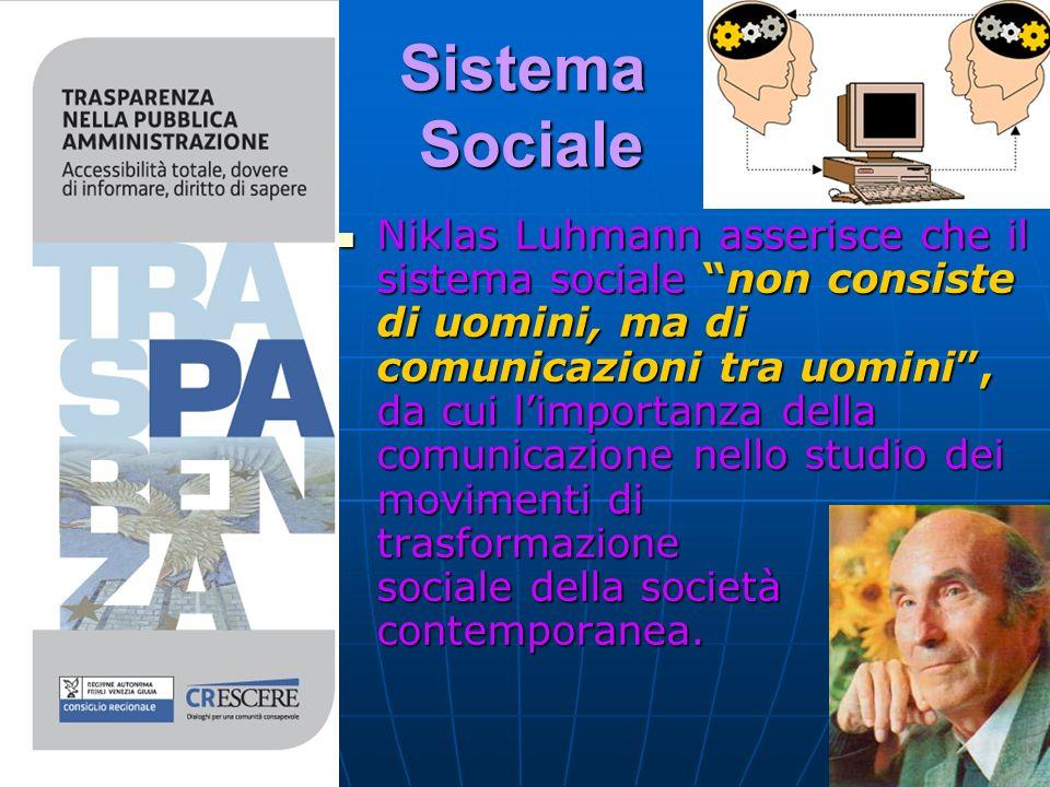 Sistema Sociale Niklas Luhmann asserisce che il sistema sociale non consiste di uomini, ma di comunicazioni tra uomini, da cui limportanza della comunicazione nello studio dei movimenti di trasformazione sociale della società contemporanea.