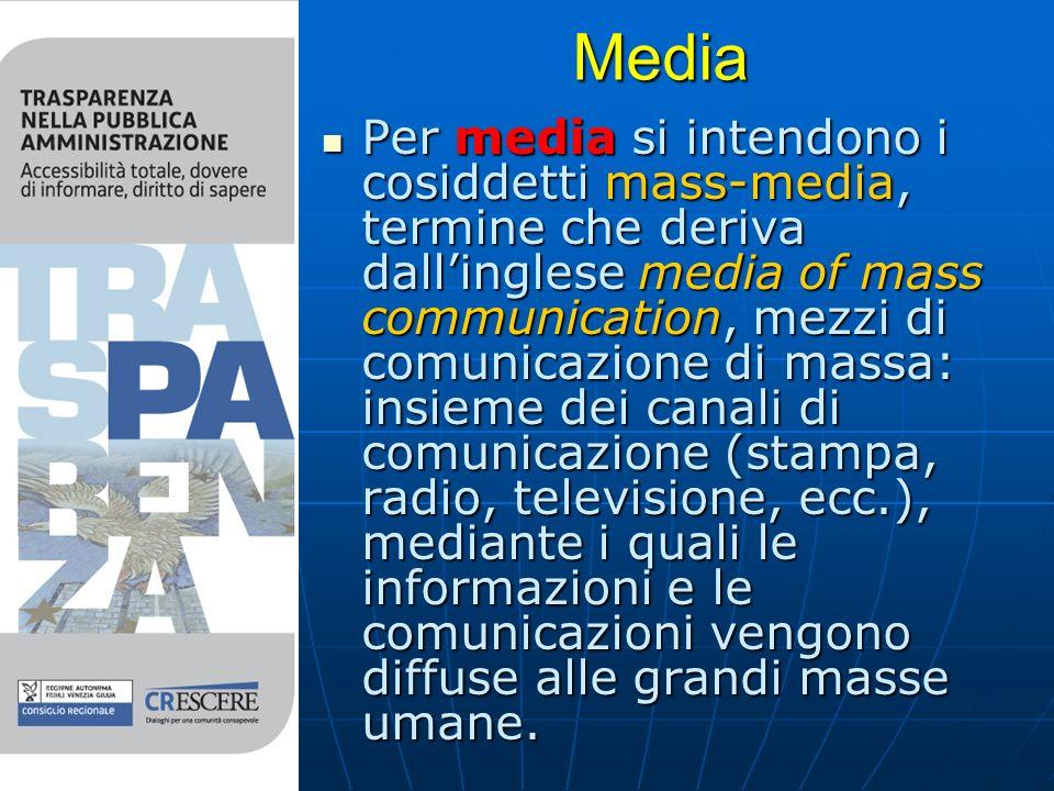 Media Per media si intendono i cosiddetti mass-media, termine che deriva dallinglese media of mass communication, mezzi di comunicazione di massa: insieme dei canali di comunicazione (stampa, radio, televisione, ecc.), mediante i quali le informazioni e le comunicazioni vengono diffuse alle grandi masse umane.