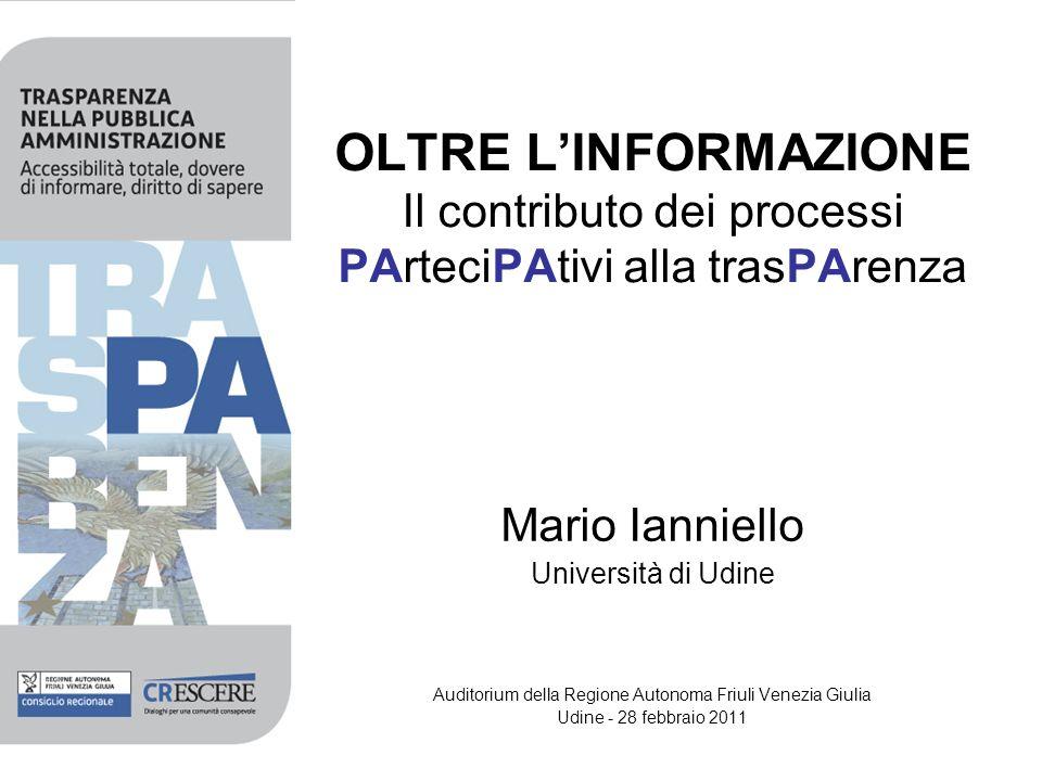 OLTRE LINFORMAZIONE Il contributo dei processi PArteciPAtivi alla trasPArenza Mario Ianniello Università di Udine Auditorium della Regione Autonoma Fr