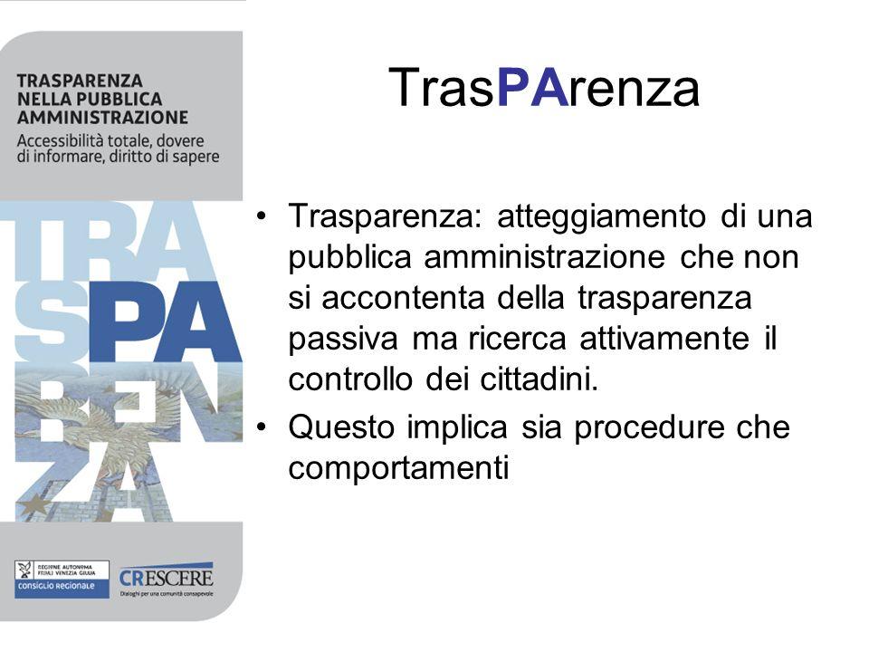 TrasPArenza Trasparenza: atteggiamento di una pubblica amministrazione che non si accontenta della trasparenza passiva ma ricerca attivamente il contr