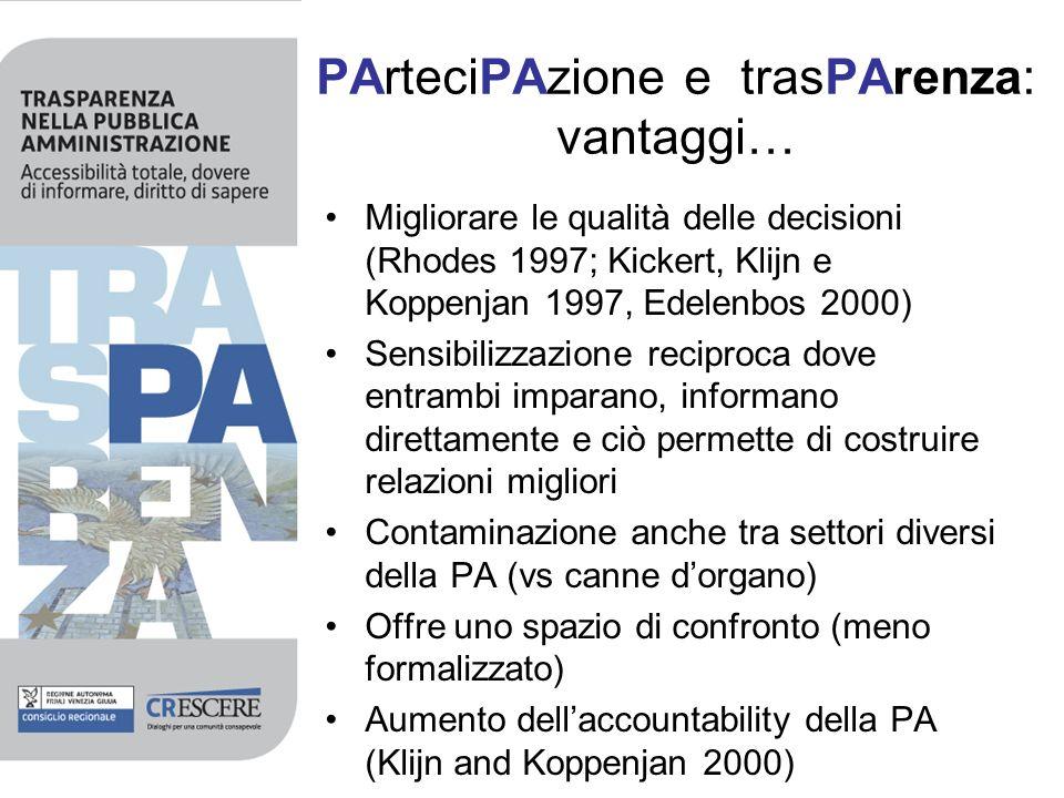 PArteciPAzione e trasPArenza: vantaggi… Migliorare le qualità delle decisioni (Rhodes 1997; Kickert, Klijn e Koppenjan 1997, Edelenbos 2000) Sensibili