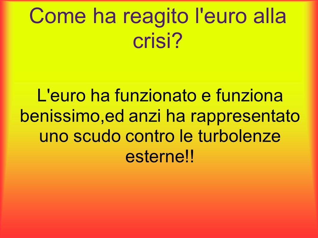 Come ha reagito l'euro alla crisi? L'euro ha funzionato e funziona benissimo,ed anzi ha rappresentato uno scudo contro le turbolenze esterne!!