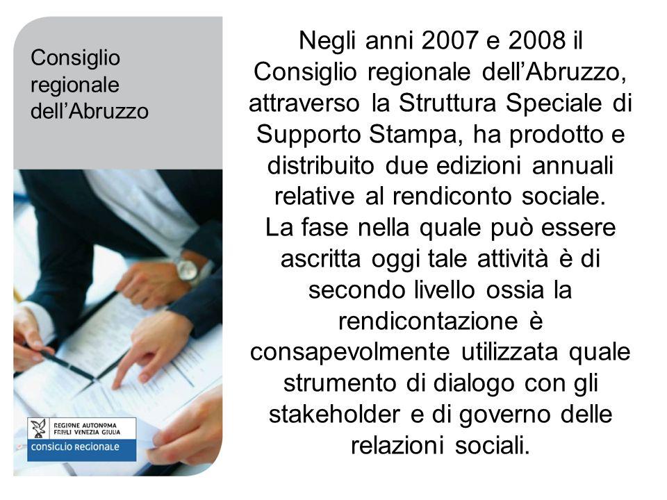 Negli anni 2007 e 2008 il Consiglio regionale dellAbruzzo, attraverso la Struttura Speciale di Supporto Stampa, ha prodotto e distribuito due edizioni annuali relative al rendiconto sociale.