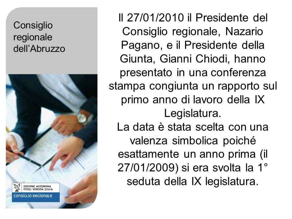 Il 27/01/2010 il Presidente del Consiglio regionale, Nazario Pagano, e il Presidente della Giunta, Gianni Chiodi, hanno presentato in una conferenza stampa congiunta un rapporto sul primo anno di lavoro della IX Legislatura.