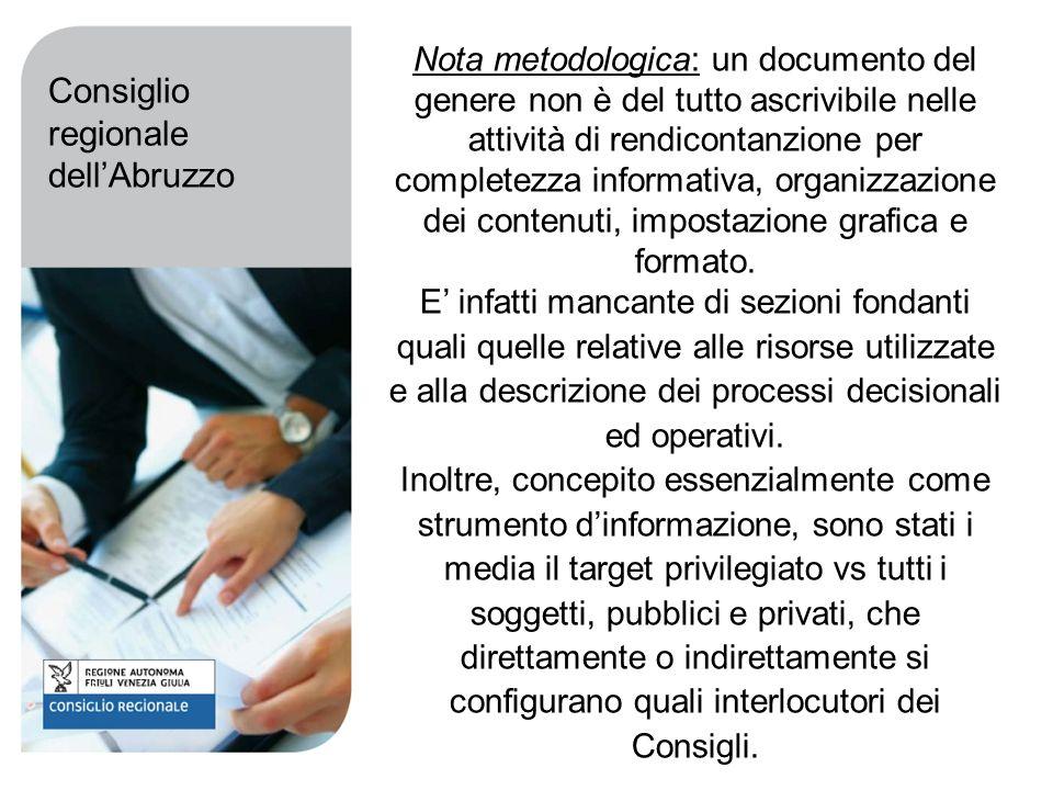 Nota metodologica: un documento del genere non è del tutto ascrivibile nelle attività di rendicontanzione per completezza informativa, organizzazione dei contenuti, impostazione grafica e formato.
