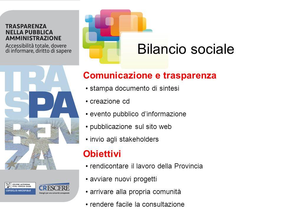 Bilancio sociale Comunicazione e trasparenza stampa documento di sintesi creazione cd evento pubblico dinformazione pubblicazione sul sito web invio a