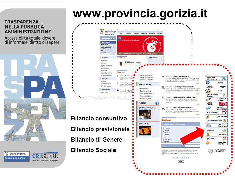 www.provincia.gorizia.it Bilancio consuntivo Bilancio previsionale Bilancio di Genere Bilancio Sociale