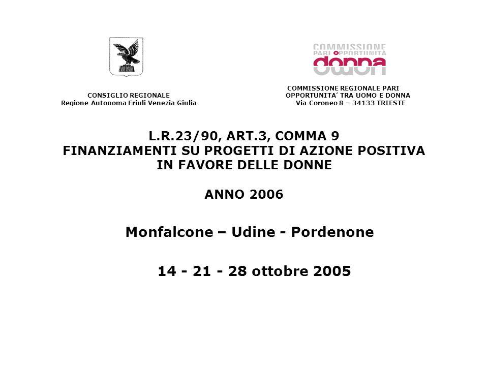 L.R.23/90, ART.3, COMMA 9 FINANZIAMENTI SU PROGETTI DI AZIONE POSITIVA IN FAVORE DELLE DONNE ANNO 2006 Monfalcone – Udine - Pordenone 14 - 21 - 28 ottobre 2005 CONSIGLIO REGIONALE Regione Autonoma Friuli Venezia Giulia COMMISSIONE REGIONALE PARI OPPORTUNITA TRA UOMO E DONNA Via Coroneo 8 – 34133 TRIESTE