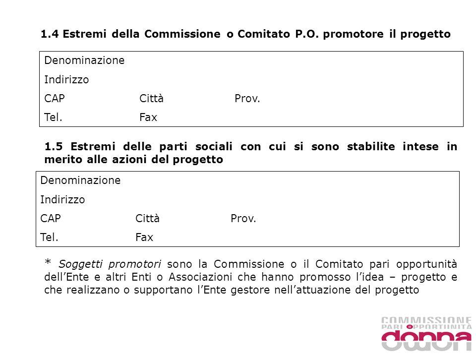 1.4 Estremi della Commissione o Comitato P.O.