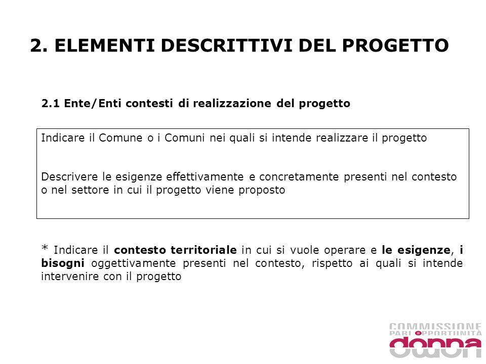 2. ELEMENTI DESCRITTIVI DEL PROGETTO 2.1 Ente/Enti contesti di realizzazione del progetto Indicare il Comune o i Comuni nei quali si intende realizzar