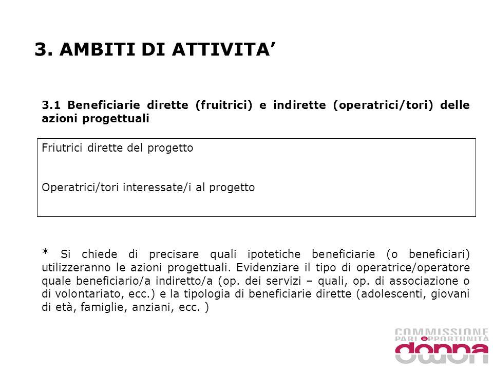 3. AMBITI DI ATTIVITA 3.1 Beneficiarie dirette (fruitrici) e indirette (operatrici/tori) delle azioni progettuali Friutrici dirette del progetto Opera