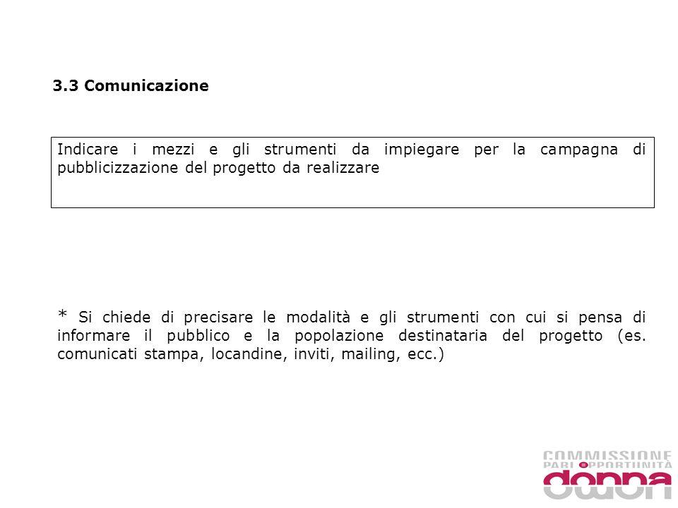 3.3 Comunicazione Indicare i mezzi e gli strumenti da impiegare per la campagna di pubblicizzazione del progetto da realizzare * Si chiede di precisare le modalità e gli strumenti con cui si pensa di informare il pubblico e la popolazione destinataria del progetto (es.