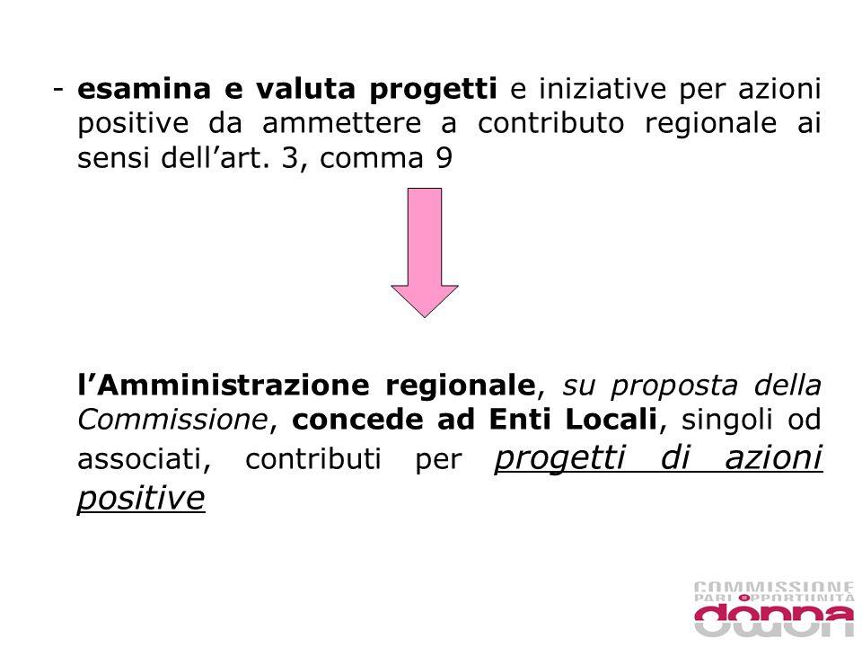 - esamina e valuta progetti e iniziative per azioni positive da ammettere a contributo regionale ai sensi dellart.