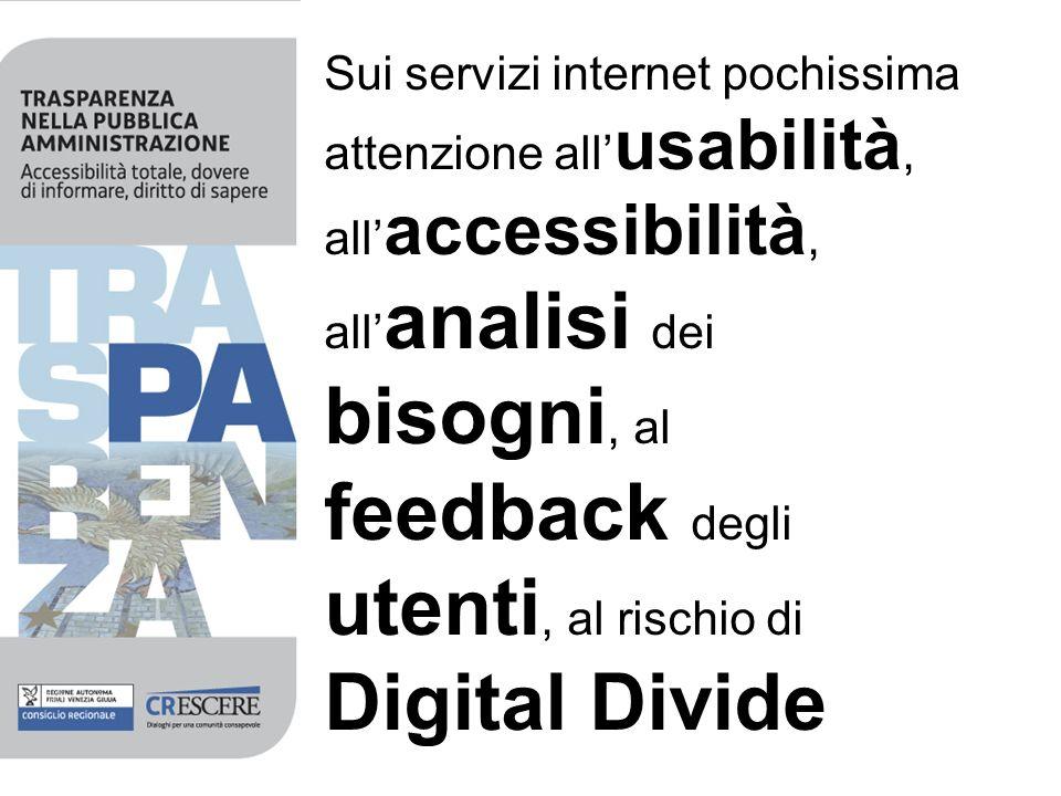 Sui servizi internet pochissima attenzione all usabilità, all accessibilità, all analisi dei bisogni, al feedback degli utenti, al rischio di Digital Divide