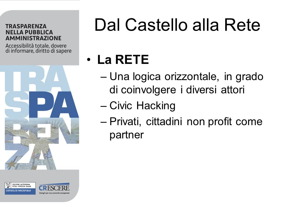 Dal Castello alla Rete La RETE –Una logica orizzontale, in grado di coinvolgere i diversi attori –Civic Hacking –Privati, cittadini non profit come partner