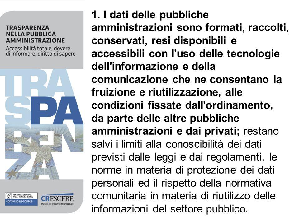 1. I dati delle pubbliche amministrazioni sono formati, raccolti, conservati, resi disponibili e accessibili con l'uso delle tecnologie dell'informazi