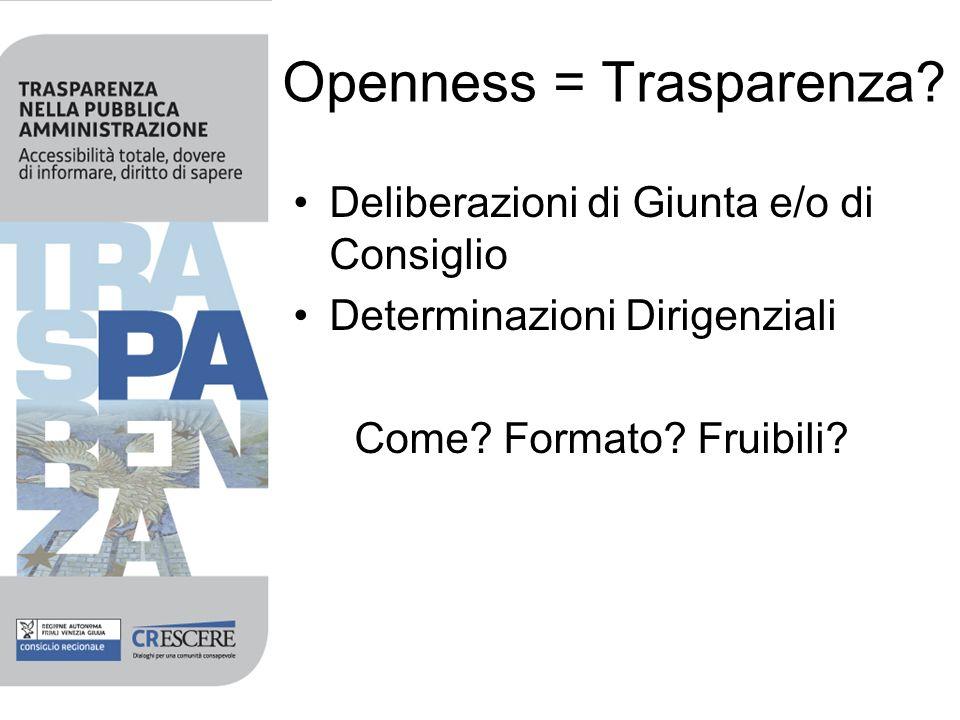 Openness = Trasparenza. Deliberazioni di Giunta e/o di Consiglio Determinazioni Dirigenziali Come.