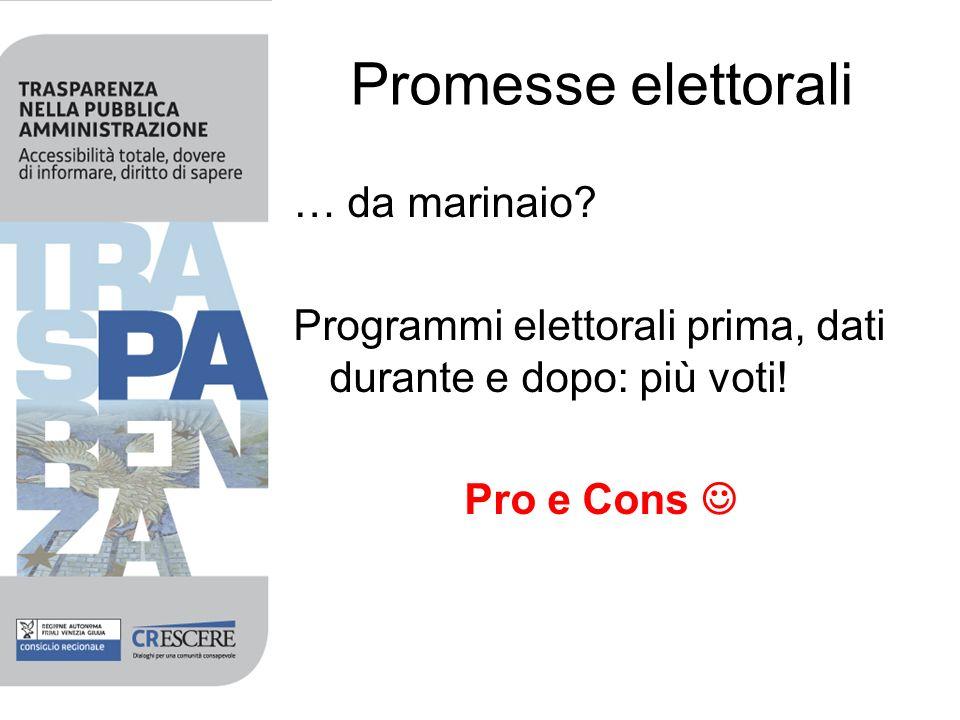 Promesse elettorali … da marinaio. Programmi elettorali prima, dati durante e dopo: più voti.