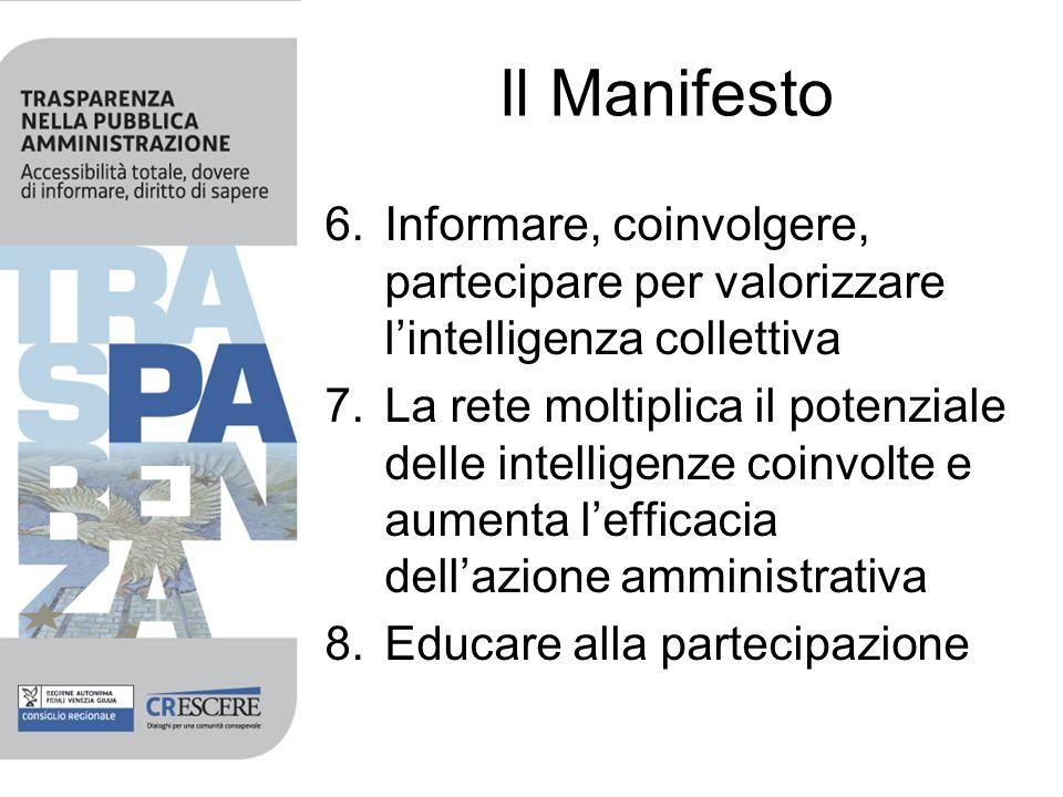 Il Manifesto 6.Informare, coinvolgere, partecipare per valorizzare lintelligenza collettiva 7.La rete moltiplica il potenziale delle intelligenze coinvolte e aumenta lefficacia dellazione amministrativa 8.Educare alla partecipazione