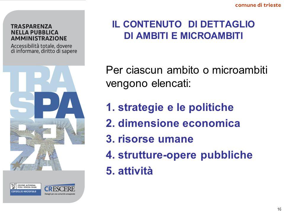 16 comune di trieste IL CONTENUTO DI DETTAGLIO DI AMBITI E MICROAMBITI Per ciascun ambito o microambiti vengono elencati: 1. strategie e le politiche