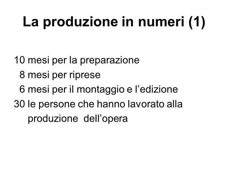 La produzione in numeri (1) 10 mesi per la preparazione 8 mesi per riprese 6 mesi per il montaggio e ledizione 30 le persone che hanno lavorato alla p