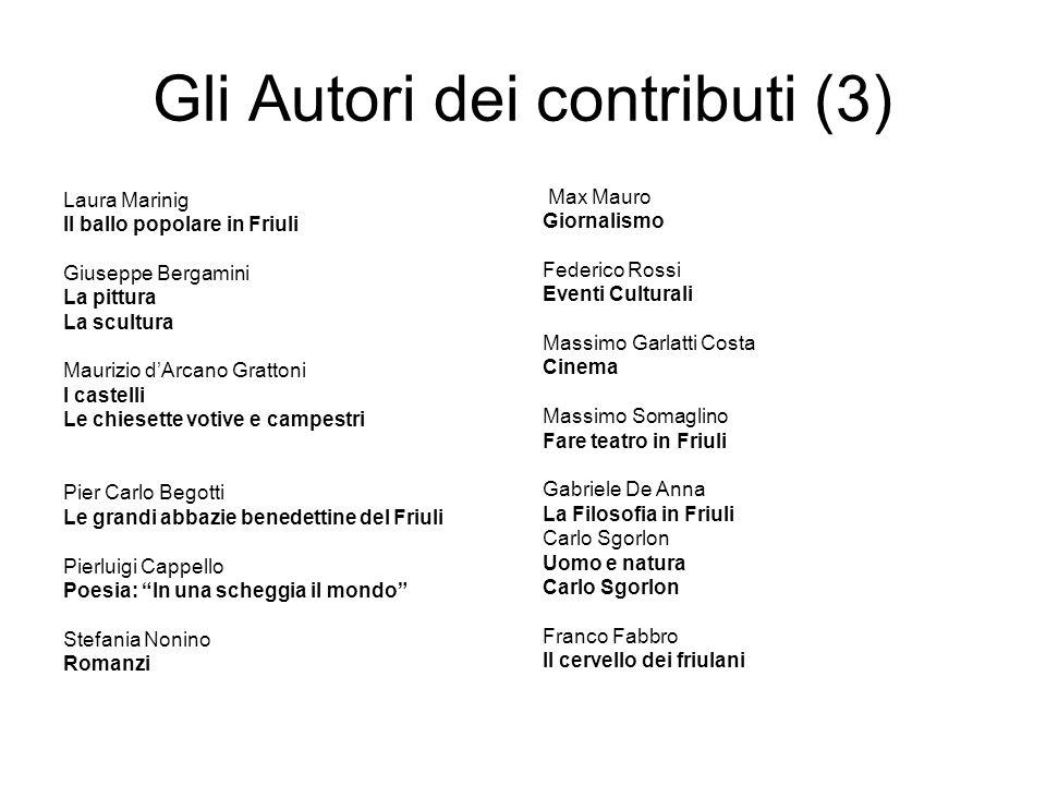 Gli Autori dei contributi (3) Laura Marinig Il ballo popolare in Friuli Giuseppe Bergamini La pittura La scultura Maurizio dArcano Grattoni I castelli