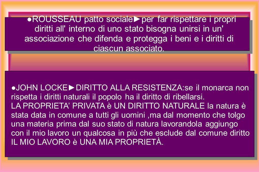ROUSSEAU patto socialeper far rispettare i propri diritti all interno di uno stato bisogna unirsi in un associazione che difenda e protegga i beni e i diritti di ciascun associato.