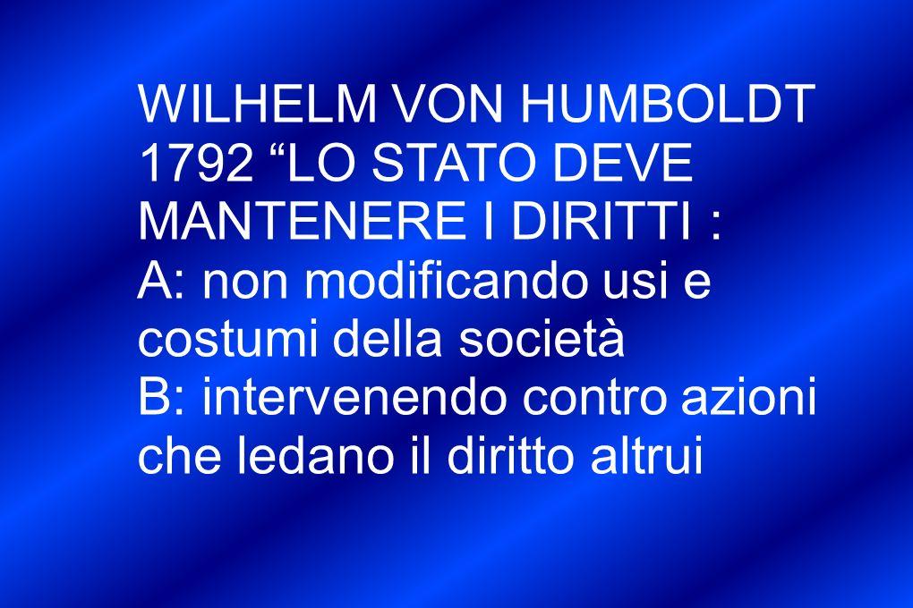 WILHELM VON HUMBOLDT 1792 LO STATO DEVE MANTENERE I DIRITTI : A: non modificando usi e costumi della società B: intervenendo contro azioni che ledano il diritto altrui