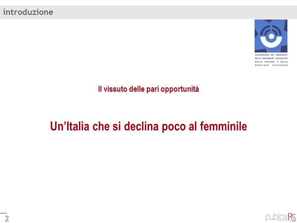 2 Il vissuto delle pari opportunità Il vissuto delle pari opportunità UnItalia che si declina poco al femminile introduzione