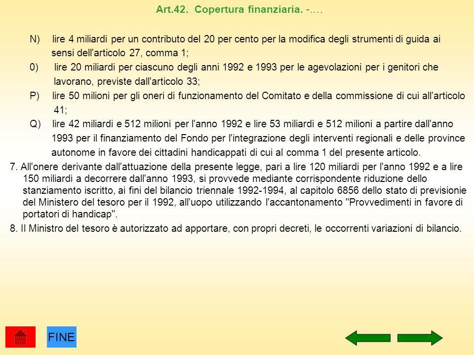Art.42. Copertura finanziaria. -…. N) lire 4 miliardi per un contributo del 20 per cento per la modifica degli strumenti di guida ai sensi dell'artico