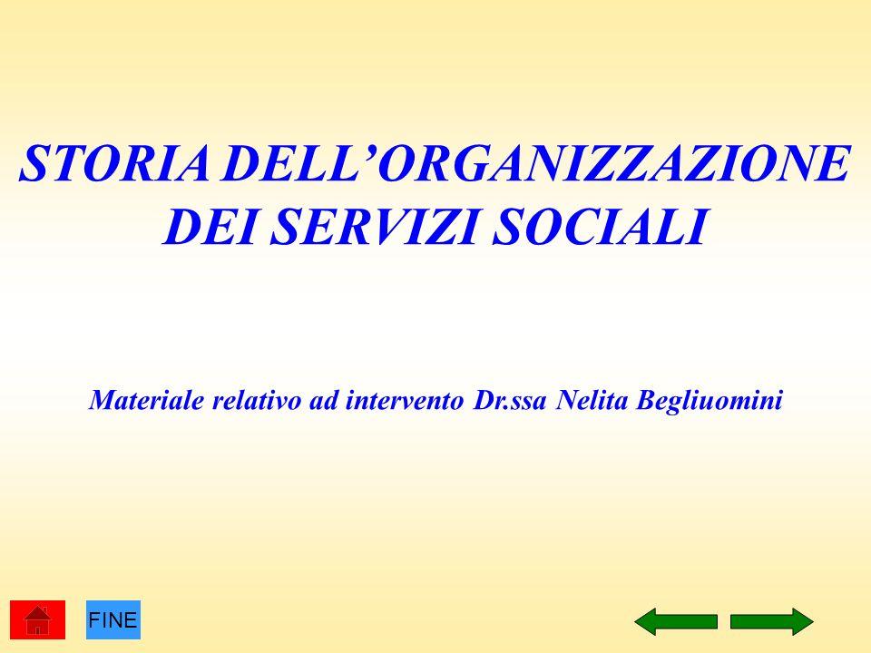 STORIA DELLORGANIZZAZIONE DEI SERVIZI SOCIALI Materiale relativo ad intervento Dr.ssa Nelita Begliuomini