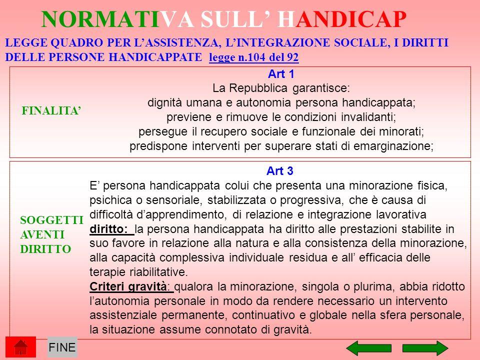 NORMATIVA SULL HANDICAP Art 1 La Repubblica garantisce: dignità umana e autonomia persona handicappata; previene e rimuove le condizioni invalidanti;