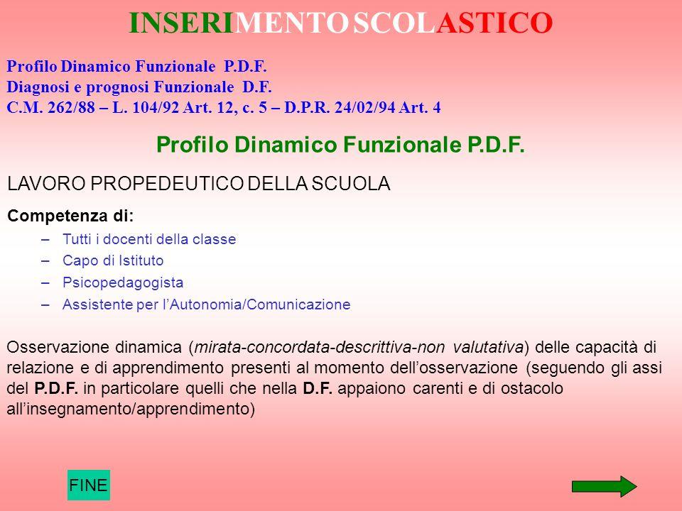 FINE INSERIMENTO SCOLASTICO Profilo Dinamico Funzionale P.D.F. Diagnosi e prognosi Funzionale D.F. C.M. 262/88 – L. 104/92 Art. 12, c. 5 – D.P.R. 24/0