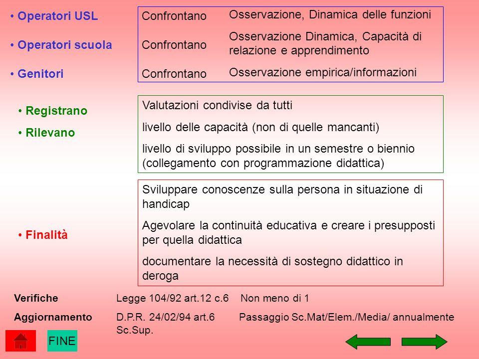 Operatori USL Operatori scuola Genitori Registrano Rilevano Valutazioni condivise da tutti livello delle capacità (non di quelle mancanti) livello di