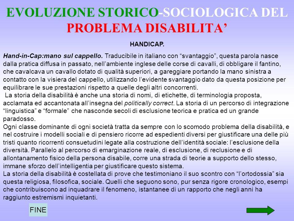 EVOLUZIONE STORICO-SOCIOLOGICA DEL PROBLEMA DISABILITA HANDICAP. Hand-in-Cap:mano sul cappello. Traducibile in italiano con svantaggio, questa parola