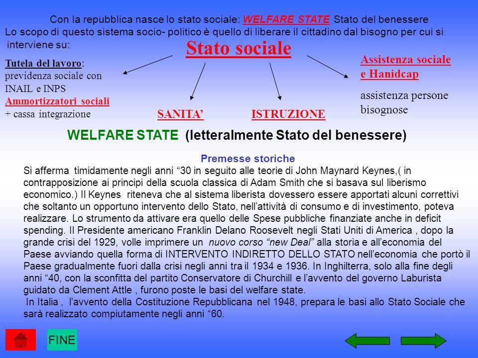 STATO SOCIALE o WELFARE STATE FINE Sistema socio-politico in cui lo stato si fa carico dellassistenza sociale ed eroga un complesso di servizi e prestazioni che eccedono le funzioni da esso ordinariamente svolte.