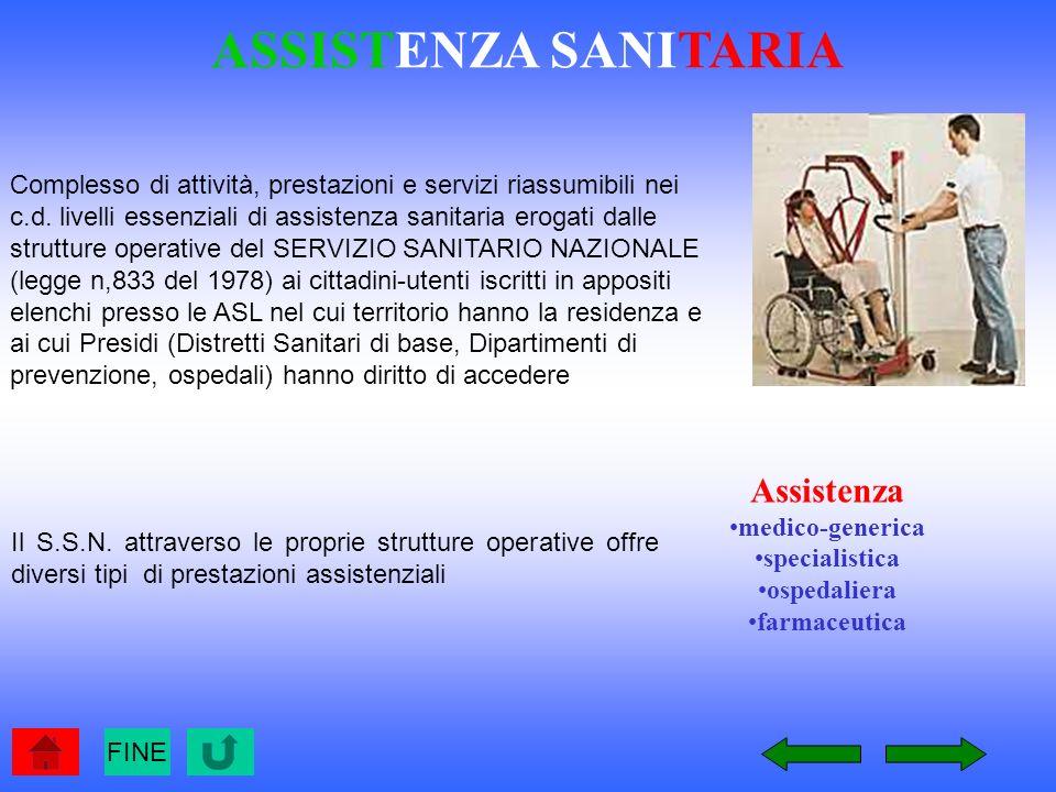 Il S.S.N. attraverso le proprie strutture operative offre diversi tipi di prestazioni assistenziali Assistenza medico-generica specialistica ospedalie