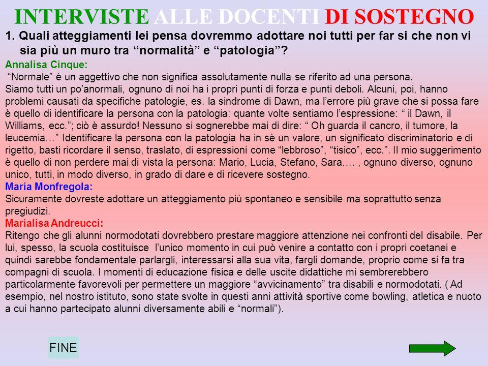 INTERVISTE ALLE DOCENTI DI SOSTEGNO 1.