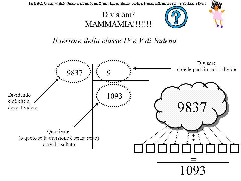 Divisioni? MAMMAMIA!!!!!!! Il terrore della classe IV e V di Vadena 98379 Dividendo cioè che si deve dividere Divisore cioè le parti in cui si divide