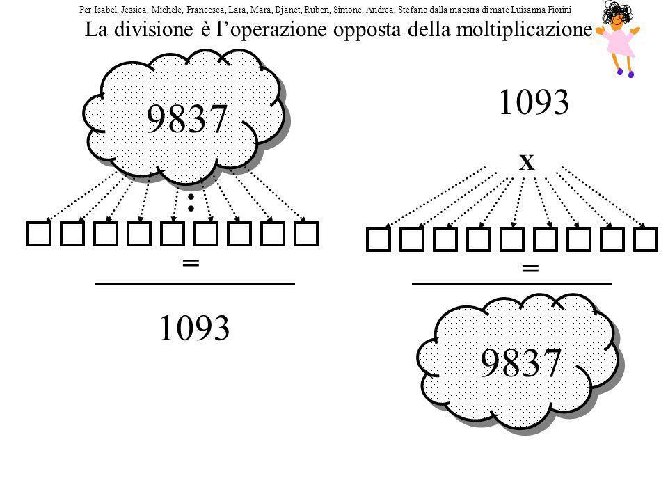 9837 : = 1093 9837 X = 1093 La divisione è loperazione opposta della moltiplicazione Per Isabel, Jessica, Michele, Francesca, Lara, Mara, Djanet, Rube