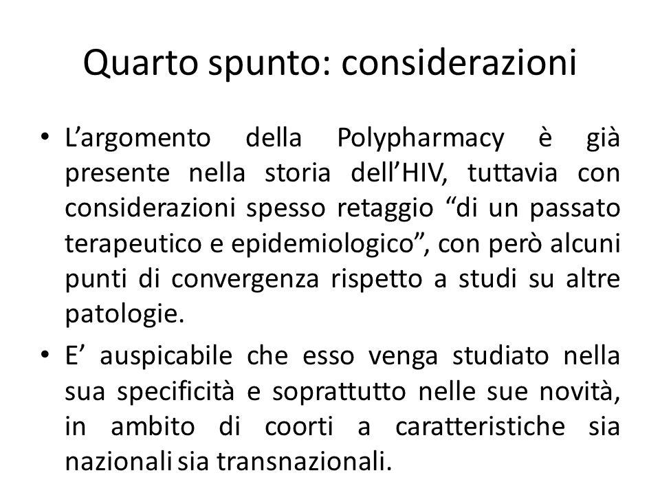 Largomento della Polypharmacy è già presente nella storia dellHIV, tuttavia con considerazioni spesso retaggio di un passato terapeutico e epidemiologico, con però alcuni punti di convergenza rispetto a studi su altre patologie.