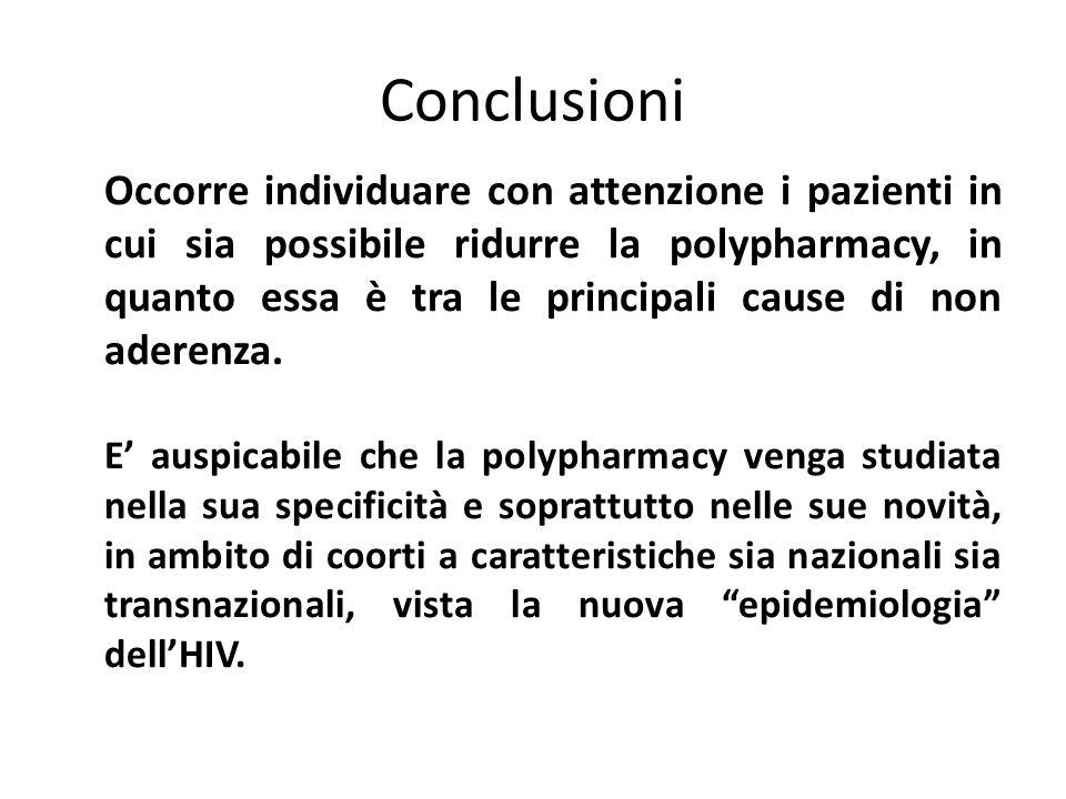 Occorre individuare con attenzione i pazienti in cui sia possibile ridurre la polypharmacy, in quanto essa è tra le principali cause di non aderenza.
