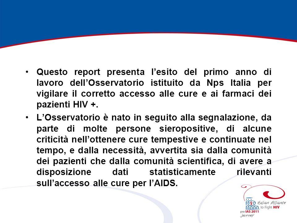 Questo report presenta lesito del primo anno di lavoro dellOsservatorio istituito da Nps Italia per vigilare il corretto accesso alle cure e ai farmaci dei pazienti HIV +.