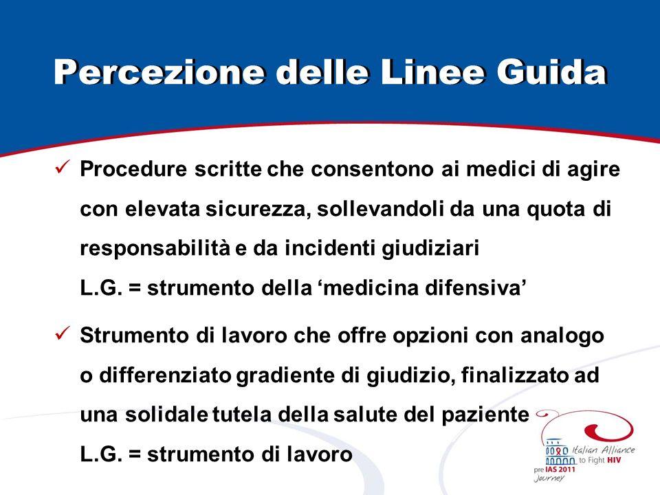 Percezione delle Linee Guida Procedure scritte che consentono ai medici di agire con elevata sicurezza, sollevandoli da una quota di responsabilità e da incidenti giudiziari L.G.