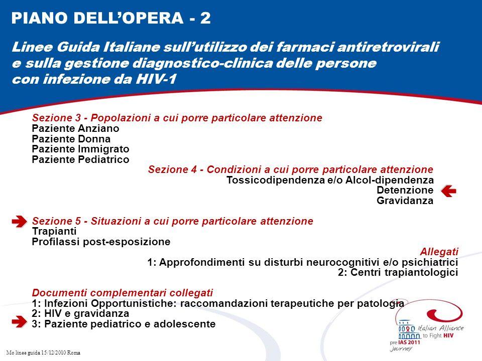 Mo linee guida 15/12/2010 Roma Sezione 3 - Popolazioni a cui porre particolare attenzione Paziente Anziano Paziente Donna Paziente Immigrato Paziente