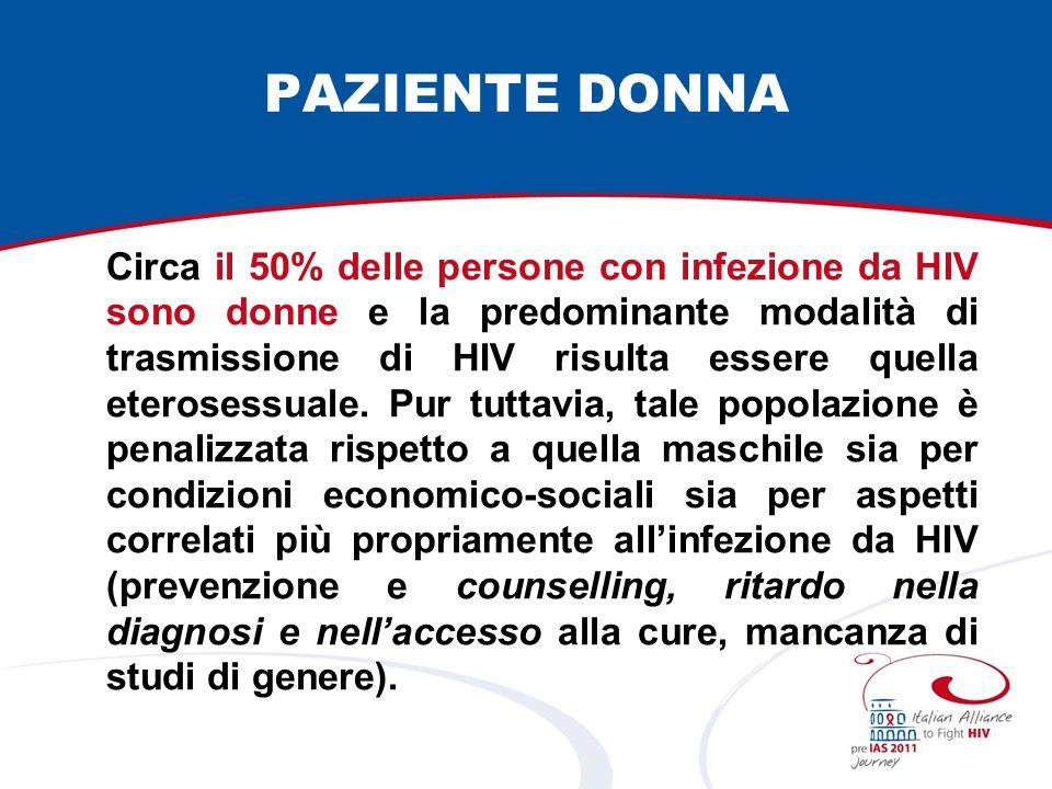 PAZIENTE DONNA Circa il 50% delle persone con infezione da HIV sono donne e la predominante modalità di trasmissione di HIV risulta essere quella eterosessuale.
