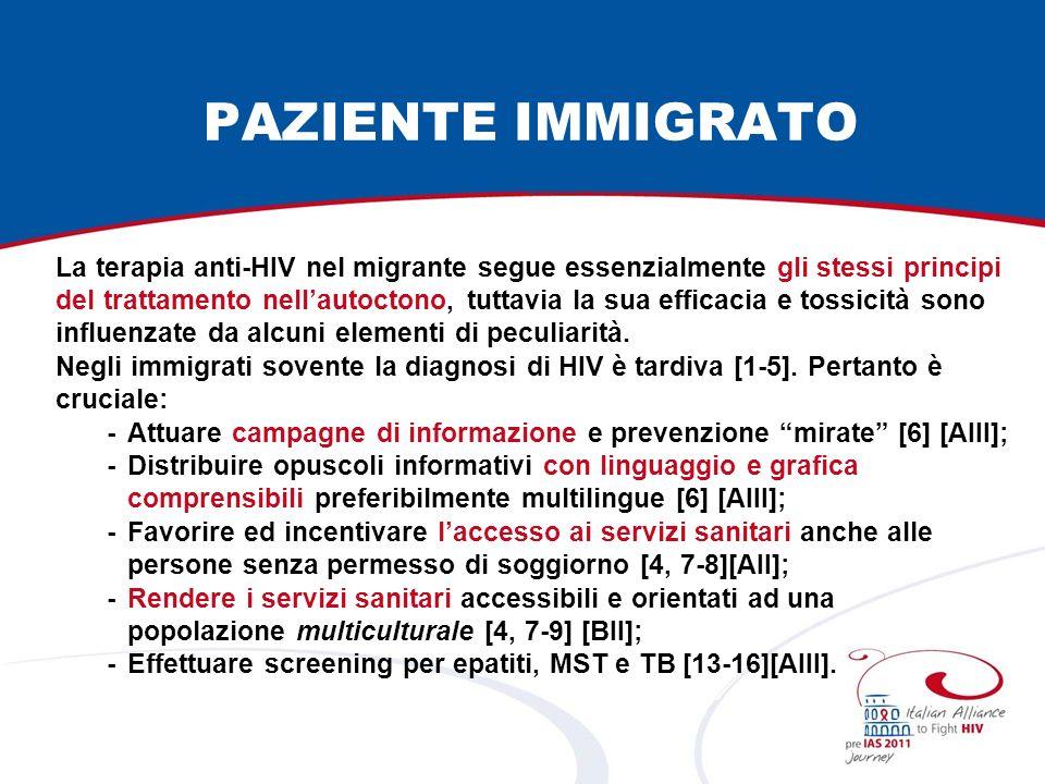 PAZIENTE IMMIGRATO La terapia anti-HIV nel migrante segue essenzialmente gli stessi principi del trattamento nellautoctono, tuttavia la sua efficacia