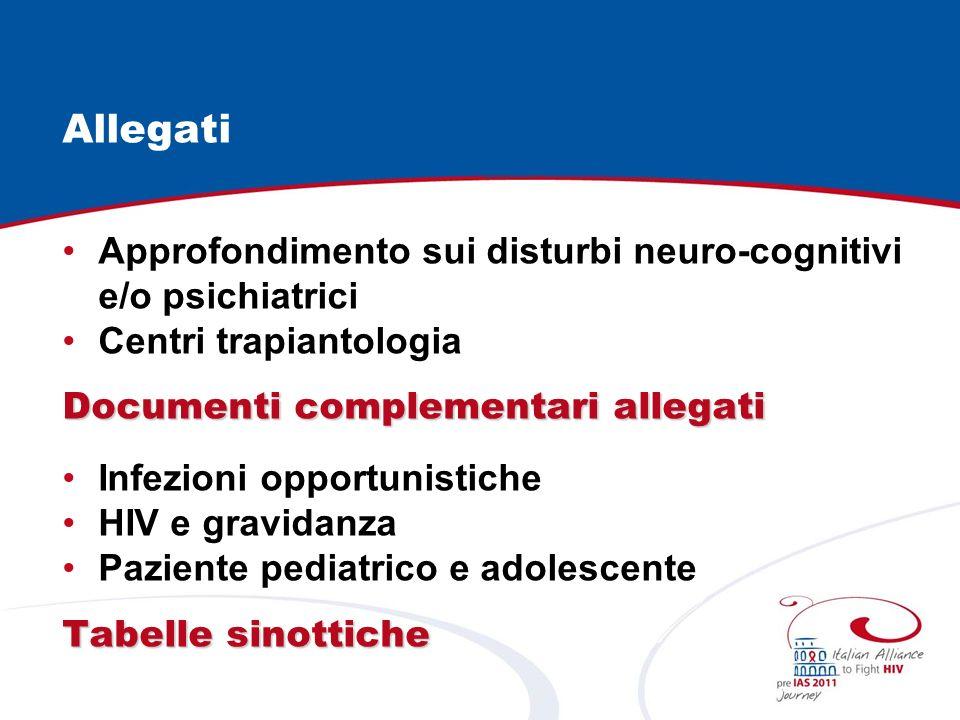 Allegati Approfondimento sui disturbi neuro-cognitivi e/o psichiatrici Centri trapiantologia Documenti complementari allegati Infezioni opportunistiche HIV e gravidanza Paziente pediatrico e adolescente Tabelle sinottiche
