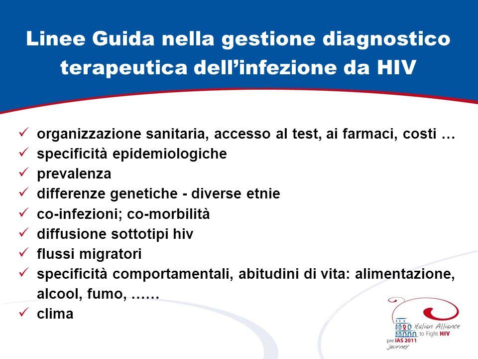 Linee Guida nella gestione diagnostico terapeutica dellinfezione da HIV organizzazione sanitaria, accesso al test, ai farmaci, costi … specificità epi