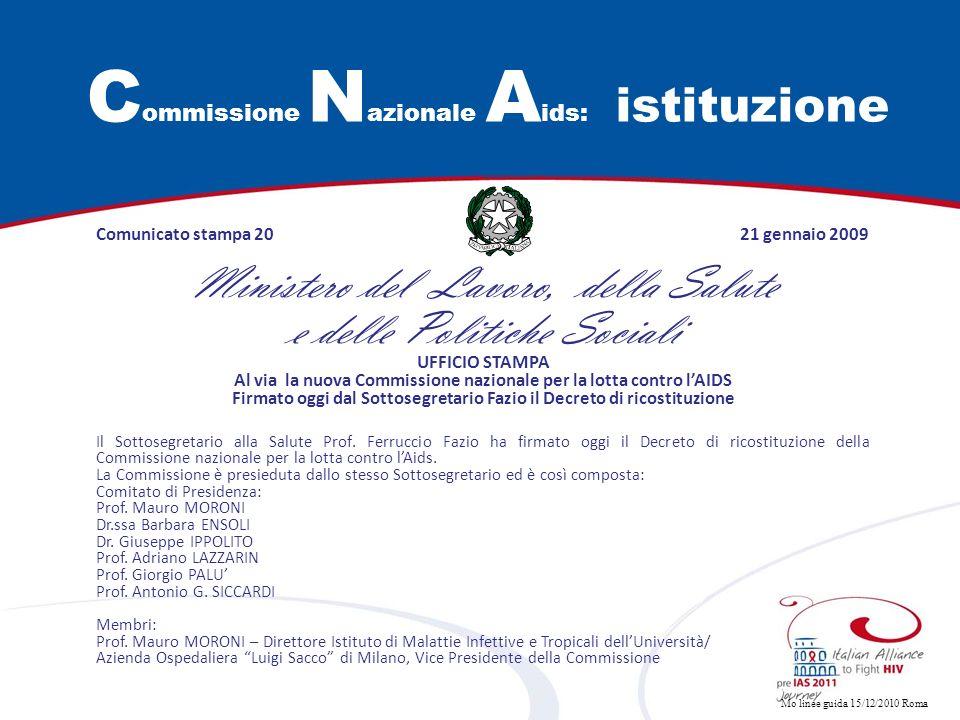 Mo linee guida 15/12/2010 Roma C ommissione N azionale A ids: istituzione Comunicato stampa 20 21 gennaio 2009 Ministero del Lavoro, della Salute e de